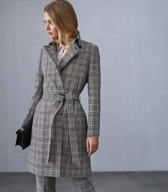 Reiss EDEN CHECKED MAC COAT Black/white