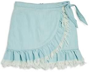 Blank NYC BLANKNYC Girls' Frayed & Ruffled Faux Wrap Skirt - Big Kid