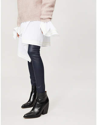 AG Jeans Leather-look skinny high-rise jeans