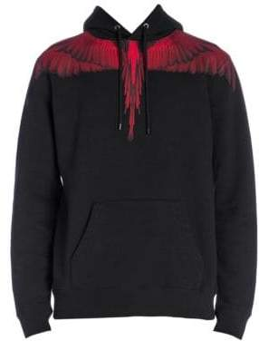 Marcelo Burlon County of Milan Men's Wings Hoodie - Black Red - Size Medium