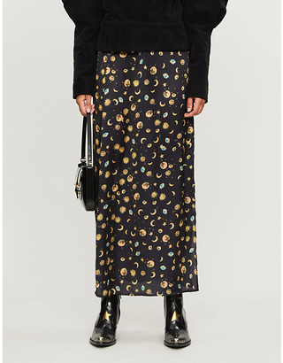NEVER FULLY DRESSED Esme high-waist space-print satin midi skirt