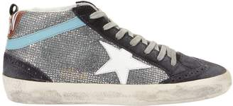 Golden Goose Mid Star Silver Glitter Suede Sneakers