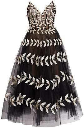 Oscar de la Renta Fern-Embroidered Strapless V-Neck Tulle A-Line Dress