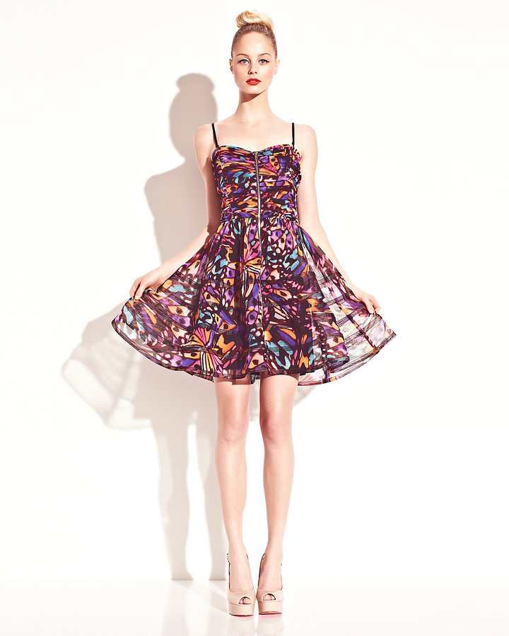 Betsey Johnson Printed Ruched Dress