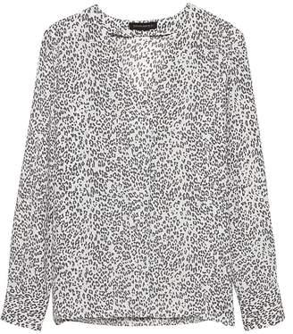 Banana Republic Petite Leopard Print Drapey V-Neck Top