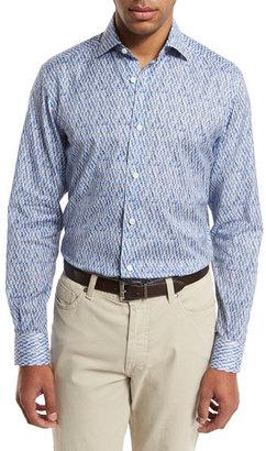 Ermenegildo Zegna Quindici Sport Shirt, Bright Blue $695 thestylecure.com