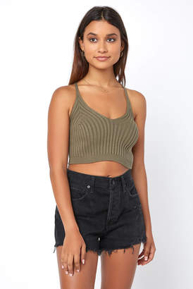 Olivaceous Ribbed Crop Tank Top