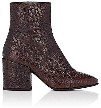 Dries Van Noten Women's Cap-Toe Stamped Leather Ankle Boots