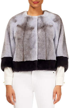 Gorski Cross Mink Cropped Jacket w/ Contrast Cuff and Bottom
