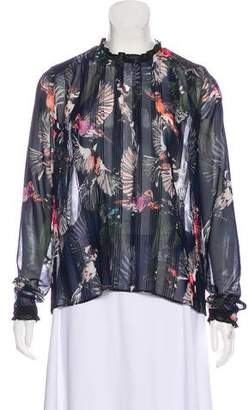 Markus Lupfer Printed Long Sleeve Blouse