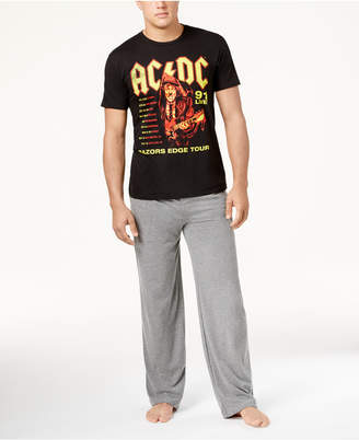 Bioworld Men's Pink Floyd, Bowie, and Ac/Dc Bands Tee Pajama Set