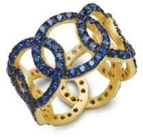 Freida Rothman Baroque Blues Glass Stone Ring