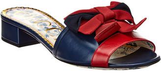 Gucci Web Bow Leather Sandal