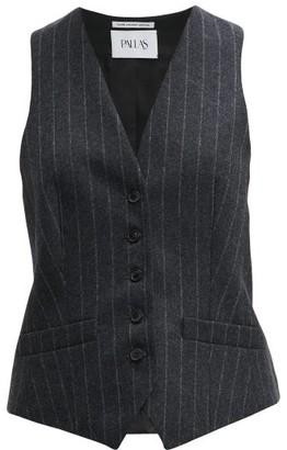 Pallas X Claire Thomson Jonville X Claire Thomson-jonville - Chalk Striped Wool Waistcoat - Womens - Grey Multi