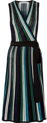 Diane von Furstenberg - Cadenza Metallic Stretch-knit Wrap Dress - Blue $430 thestylecure.com
