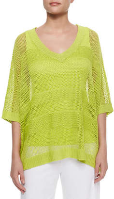 Joan Vass Mesh Striped Sweater