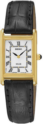 Seiko Womens Black Leather Strap Solar Watch SUP250