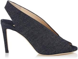 Jimmy Choo SHAR 85 Indigo Denim Sandal Booties