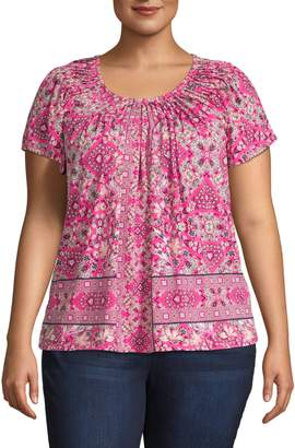 Style&Co. Style & Co. Plus Printed Short-Sleeve Top