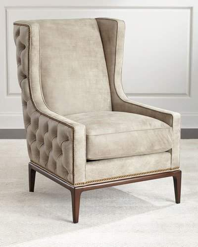 AmbellaAmbella Idris Tufted-Back Leather Wing Chair