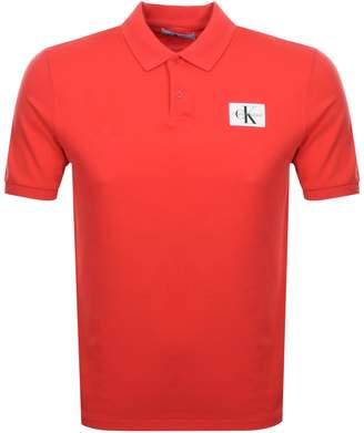 Calvin Klein Jeans Monogram Polo T Shirt Red