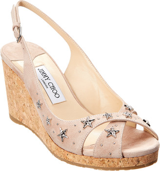 Jimmy Choo Amely 80 Suede Wedge Sandal