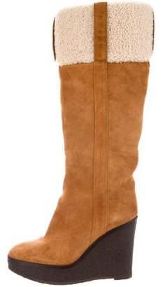 Saint Laurent Platform Knee-High Wedge Boots