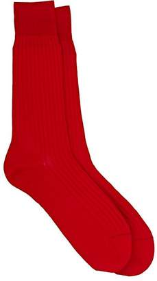 Barneys New York Men's Rib-Knit Mid-Calf Socks - Red