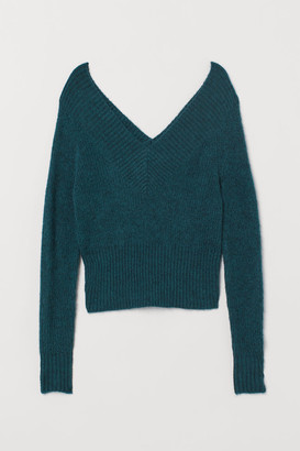 H&M Off-the-shoulder Sweater - Turquoise
