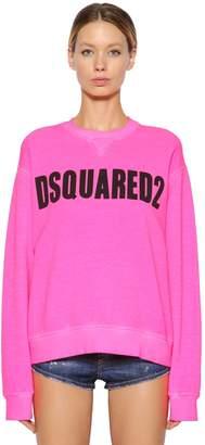 DSQUARED2 Logo Printed Cotton Jersey Sweatshirt
