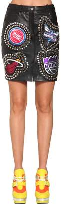 Jeremy Scott Studs & Patches Leather Mini Skirt