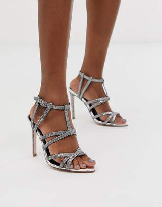 Asos Design DESIGN High Maintenance strappy pointed heeled sandals in silver
