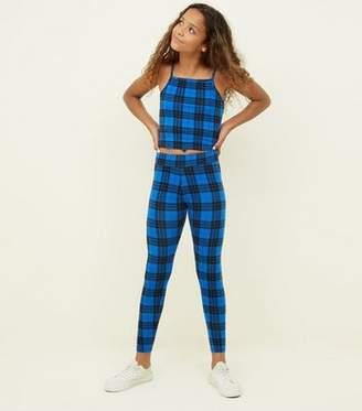 New Look Girls Blue Check Leggings