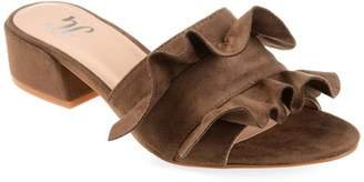 Co Brinley Womens Ruffle Faux Suede Slide-on Mules