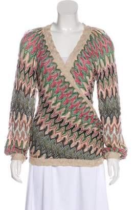 Missoni Wool-Blend Wrap Sweater Olive Wool-Blend Wrap Sweater