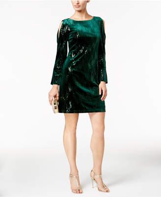 Jessica Howard Sequined Velvet Cold-Shoulder Dress