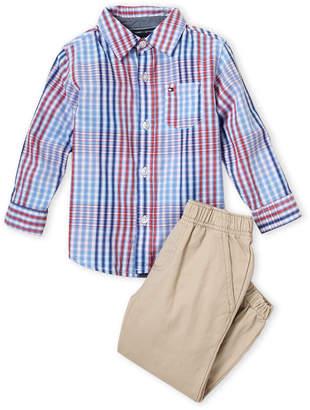 e86217f0384fe Tommy Hilfiger Toddler Boys) Two-Piece Plaid Shirt & Khaki Pant Set