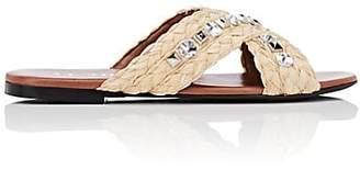 Prada Women's Embellished Raffia Crisscross-Strap Sandals - Naturale