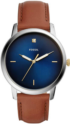 Fossil Men Minimalist Diamond Brown Leather Strap Watch 44mm