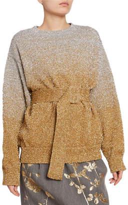 Dries Van Noten Metallic Ombre Wrap-Waist Sweater