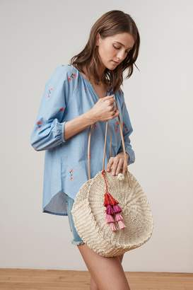 Velvet by Graham & Spencer ESTELLA ROUND STRAW TOTE TASSEL BAG