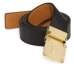 MCM Goldtone Brass Buckle Leather Belt
