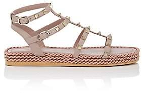 Valentino Women's Rockstud Torchon Leather Platform Sandals-Beige, Tan