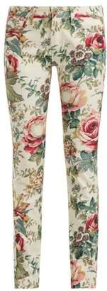 Junya Watanabe Floral Print Slim Fit Jeans - Womens - White Multi