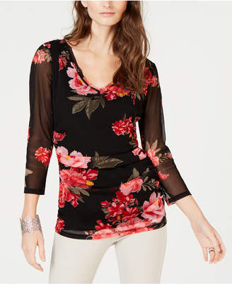 INC International Concepts I.n.c. Double-Layered Floral Top
