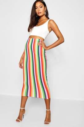 boohoo Rainbow Stripe Midaxi Skirt