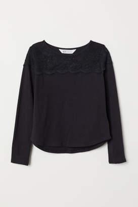 H&M Jersey Top with Lace Yoke - Black