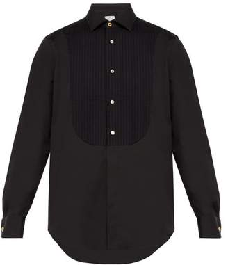 Paul Smith Pleated Bib Stretch Cotton Blend Evening Shirt - Mens - Black