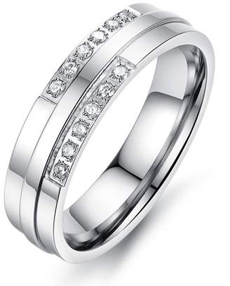 Bishilin Stainless Steel AAA Cubic Zirconia Inlaid 5MM Couple Wedding Rings for Women Size 8