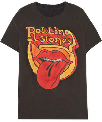 MadeWorn - Rolling Stones Distressed Printed Cotton-jersey T-shirt - Black